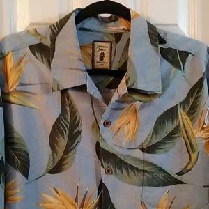 100 % silk JAMAICA JAXX Island style shirt sz L